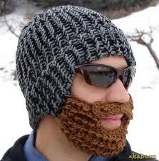 зимняя шапка с бородой и усами